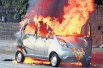Tata Nano vehicle on fire.