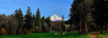Golfing at Stone Creek Golf Course, with view of Mt. Hood