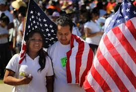 Latinos with American Flag