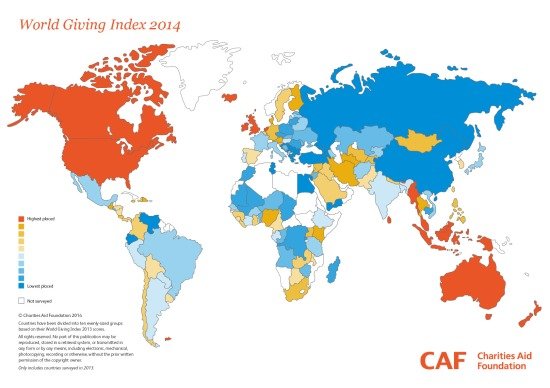 2014 World Giving Index Heat Map by CAF